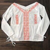Sundance Catalog White Coral Embroidered Long Sleeve Cotton Blouse Size Medium