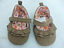 CARTER'S BROWN SHOES RUFFLES FLOWERED LINING BABY GIRL HOOK & LOOP STRAP  SIZE 2