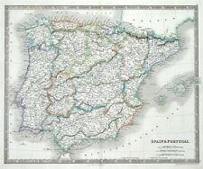 España & Portugal, viudo, Teesdale Original Antiguo mapa 1841