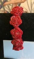 Vintage Style Red Chunky Carved Flower Celluloid Stretch Bracelet