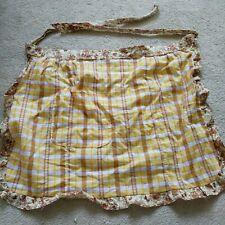 Handmade Vintage 60s 70s style Half Pinny/ Apron yellow tan white