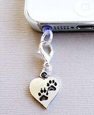 Pendant Heart DOG Paw Print cell phone Charm Dust proof  Plug ear jack C149