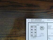 1979 Chevrolet Series Models 5.0L 305 CI V8 2BBL SUN Tune Up Chart Great Shape!