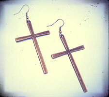 Large Antique Bronze Cross Earrings-Vintage Jewellery-Gothic Gold Stud Crosses