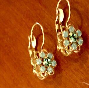 Liz Palacios Earrings teeny tiny lightweight rhinestone leverbacks green opal