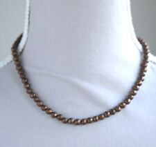 "BRONZE PYRITE FACETED ROUND NECKLACE 16.5"" LENGTH"