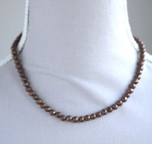 """BRONZE PYRITE FACETED ROUND NECKLACE 16.5"""" LENGTH"""