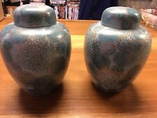 """2 Vintage Ginger Jars Blue W/ Gold Hand Painted Flowers Made Japan 6"""" Tall"""