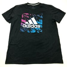 Adidas Shirt Men's Size Large L Black Short Sleeve Go-To Tee Big Logo Relaxed