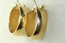 MILOR ITALY 18K GOLD WIDE OVAL HOOP EARRINGS