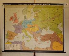 Schulwandkarte Europakarte Kaiserreiche 245x193 1973 vintage king + Emperor map