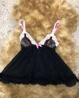 H& M black lace Camisole Top sleepwear nightwear  size S