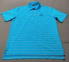 Peter Millar Summer Comfort E4 Golf Shirt Polo (L, Blue, Striped)(60119)