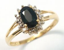 CLASSIC 10KT YELLOW GOLD NATURAL SAPPHIRE & DIAMOND RING SIZE 7   R972