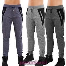 Pantaloni UOMO sport fitness tuta melange tasche zip nuovi S6713