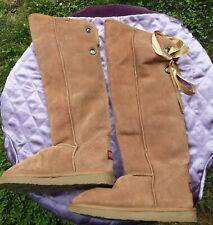 Ukala Emu Austrailia Women's Size 8W-- Wool, Suede Leather Knee High Boots Brown