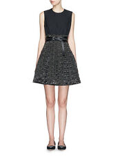 VICTORIA VICTORIA BECKHAM $1,195 double leather belted black mini dress 8-US NEW