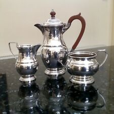 Vintage Garrard & Co Silver Plated Coffee Pot, Cream Jug and Sugar Bowl c.1970