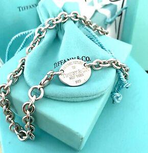 Tiffany & Co. Return To Tiffany Oval Tag Heavy Chain Silver Necklace Choker 925