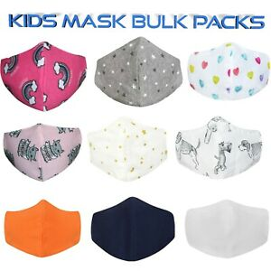 Kids Mask Multipacks Double Layered Cotton Washable Reusable Face Covering Lot