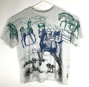 VTG All Over Print Men's Horse Equistrian Art Mega Print T-Shirt Size XL