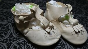 ANTIQUE! Infant  LEATHER SHOES W BUTTONS  For COMPOSITION &  BISQUE BABY DOLLS