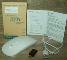 Slim 2.4 GHz Optical Wireless Mouse + Receiver Laptop PC Mac White Rechargeable