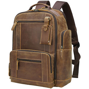 "Men Full Grain Leather Travel Backpack Camping 15.6"" Laptop Daypack School Bag"