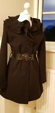 Black Wool Mix 3/4 Ftted Coat Big Belt Big Ruffle Collar Size Small
