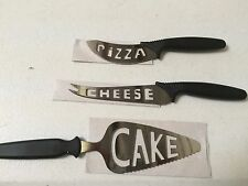 3 Piece Kitchen Knife Set Gadget Tools Knives Design Spelled Cake Cheese Pizza