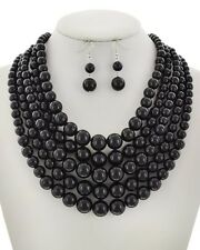 Long Multi Strand Layered Pearl Beaded Chunky Statement Necklace Earrings Set