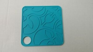 """4-PACK 6"""" x 6"""" Blue Silicone Heat Resistant Pot Coffee Placemat Coaster Trivet"""