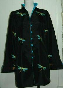 LA CERA Wearable Art Black Embroidered Dragonfly Long Sleeve Kimono Jacket Small