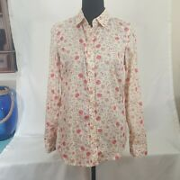 New Women Blouse Small Lauren Conrad Long Sleeve Button Up White Pink Floral Tag
