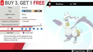 ✨Shiny Reshiram✨Pokemon Sword and Shield Perfect IV🚀Fast Delivery🚀
