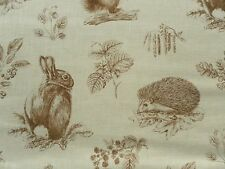 Sanderson Curtain Fabric SQUIRREL & HEDGEHOG 3.2m Henna/Wheat 320cm Linen Mix
