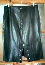 JAI Black Soft Real Leather Pencil Skirt Biker Western Size:12 -  Waist 28""