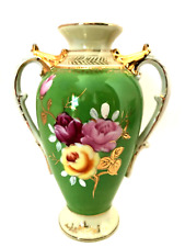 Genuine Porcelain Vase M/K Hand Painted Japan Gold Accents 6.75 inches Tall