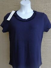 Being Casual Ribbed Cotton Knit Ruffled Scoop Neck Tee Top  2X  Navy