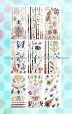 US Seller-9 sheets feather yogi hamsa metallic flash tattoo temporary tatoo