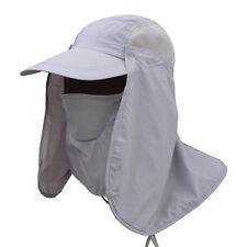 21f8a78ac16 10pcs UV Protection Sun Hat Folding Visor Neck Cover Flap Cap for Hiking  Fishing Light Gray