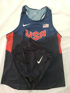 Nike Pro Elite Team USA Singlet and Pro Elite shorts kit size large