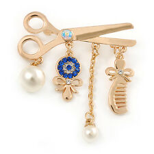 Gold Plated, Crystal, Pearl Hairdresser Charm Brooch - 45mm W