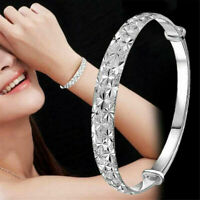 Fashion Women 925 Silver Crystal Bangle Cuff Bracelet Elegant Jewelry Adjustable