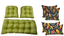 In/Outdoor Wicker Cushions & Pillows 7 PC SET Mojo Green + Blue Ash Hill Birds