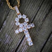 Iced Lab Simulated Diamond 14K Gold Ankh Cross Hip Hop Pendant Necklace