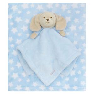 Baby Boys Puppy Dog Comforter and Blanket Set Star Flannel Fleece Sherpa Wrap