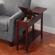 Hammacher Hidden Storage Side Accent Table Walnut Finish Compartments Slim