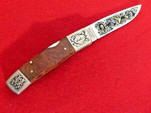 """Browning Japan mint in box Auto-5 gold etched 3.25"""" blade lockback knife"""