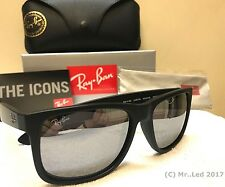 New RAY BAN Justin Sunglasse Matte Black Rubber RB 4165 622/6G  Grey Mirror 54mm